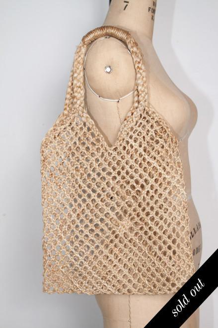 vintage straw bag woven shopper market carryall