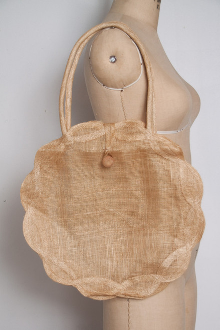 vintage straw bag natural delicate round circle woven scallop edge purse