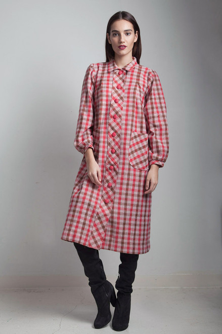 5717e06f62 vintage 70s red plaid coat dress duster with pockets Large L - The ...