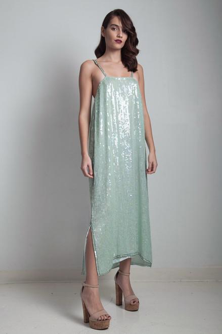 c30792e26f6 glam 70s vintage slinky dress silk sequin mint green sparkly evening prom  formal shoulder straps LARGE ...