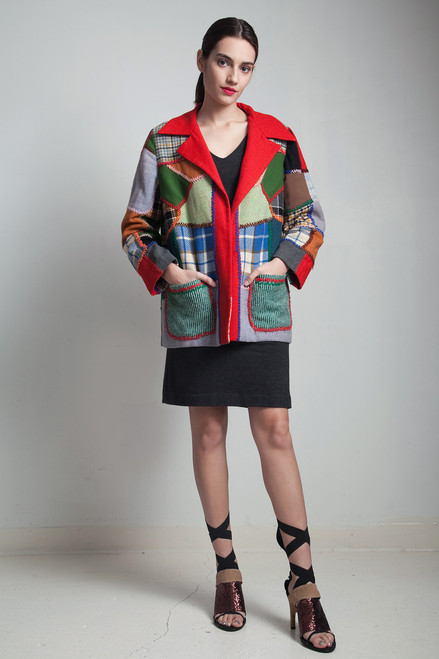 vintage 70s patchwork jacket red embroidery wool plaid coat colorful stitching L XL large - extra large