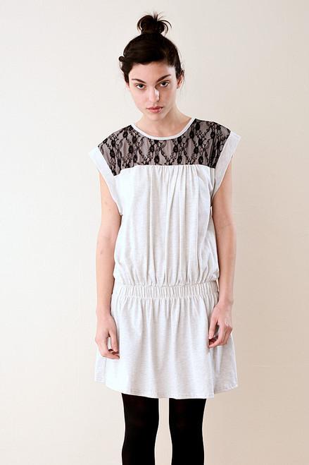 Light Heather Gray Mini Dress with Lace M