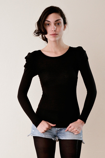 Black Puff Ruffle Shoulders Ultra Skinny Long Sleeves Tee XXS XS
