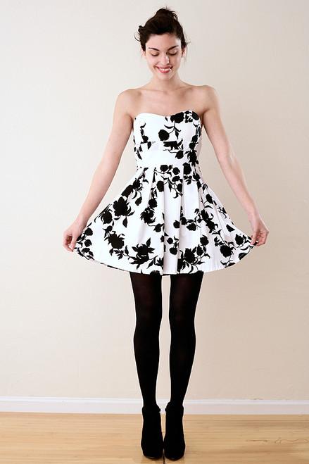 Strapless Padded Black Flower Party Dress S
