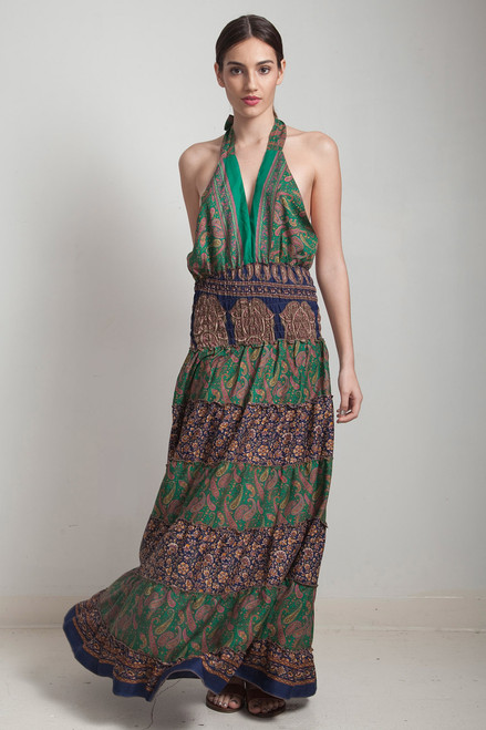 OOAK bohemian silk sari halter tiered maxi dress deep plunging open back floor length flowy green navy blue floral paisley ONE SIZE S M L