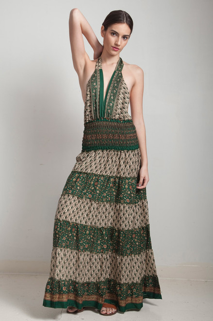 one of a kind boho tiered maxi dress bohemian silk sari halter deep plunging open back floor length flowy green cream paisley floral ONE SIZE S M L