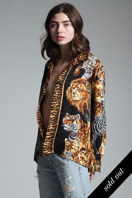 vintage safari animal print silk blouse shirt lion tiger leopard zebra black gold long sleeves MEDIUM M