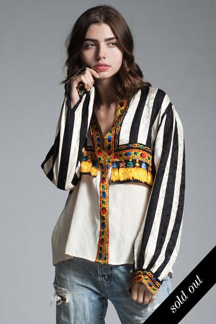 vintage paneled damask silk blouse top black white stripes gold tassel jewel print long sleeves MEDIUM M