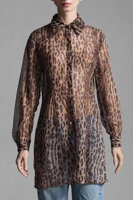 Vtg Leopard Print Sheer Blouse