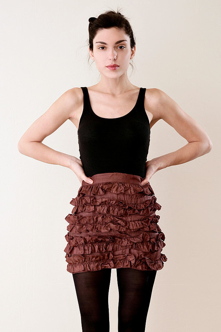 Italian Silk Micro Mini Ruffled Skirt in Rust S