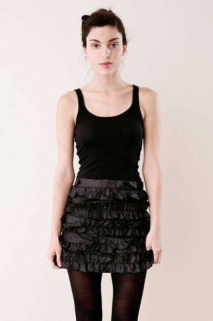 Italian Silk Micro Mini Ruffled Skirt in Black M