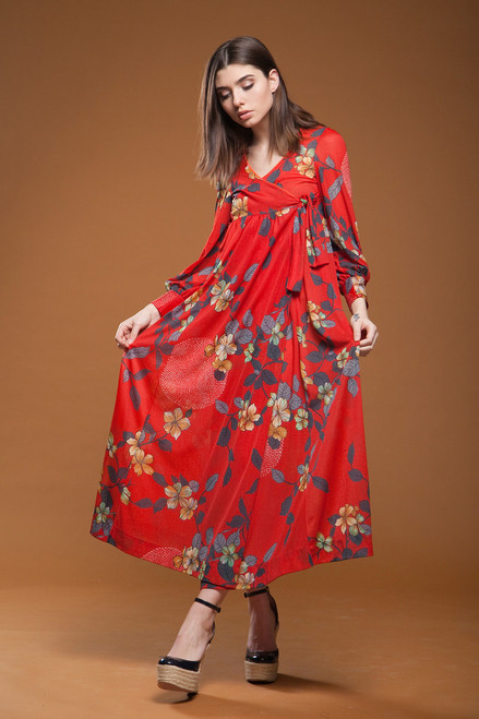 cdb7763cee03 ... vintage 70s wrap maxi dress empire waist red floral print long puff  sleeves SMALL S ...
