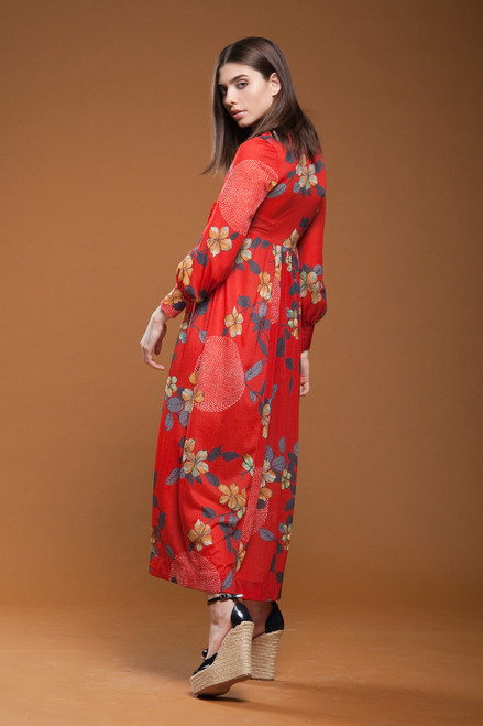 00c4a80536 ... vintage 70s wrap maxi dress empire waist red floral print long puff  sleeves SMALL S ...
