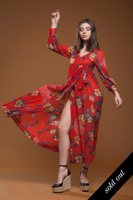 vintage 70s wrap maxi dress empire waist red floral print long puff sleeves SMALL S