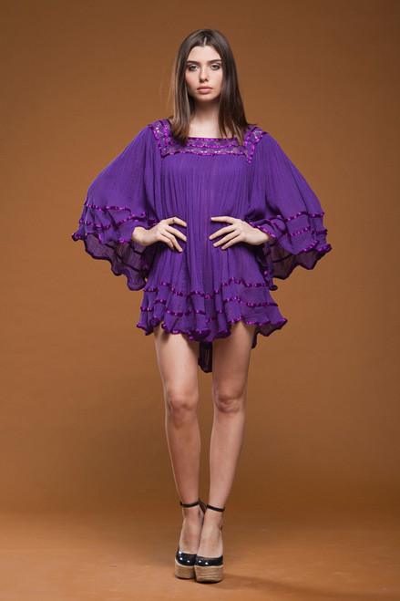 vintage 70s purple gauze cotton mini dress boho bohemian tunic top flare angle sleeves ONE SIZE S M L