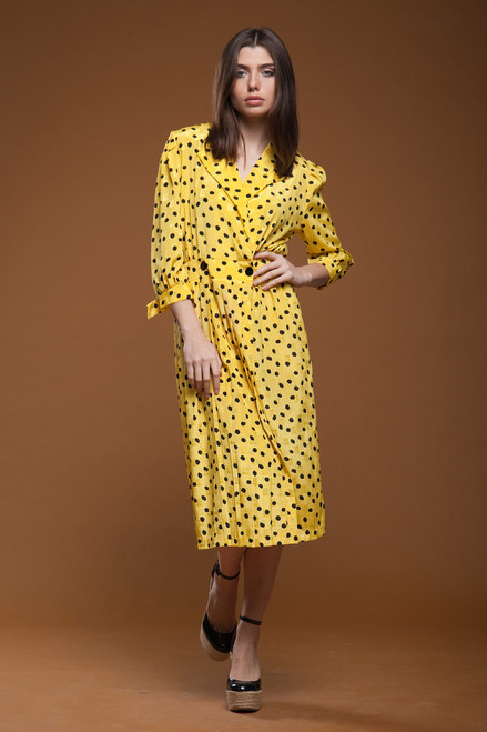 c19cc0191b58 ... vintage 80s pleated wrap midi dress yellow black polka dot crinkled  MEDIUM M ...