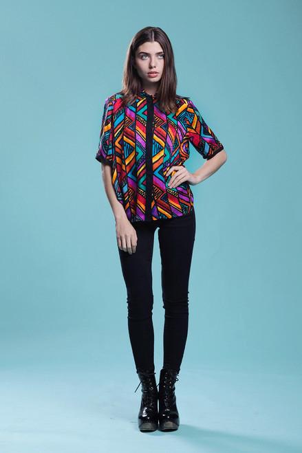 39b88388c74 ... silk blouse top abstract stripe print short sleeves vintage 90s SMALL  MEDIUM S M ...