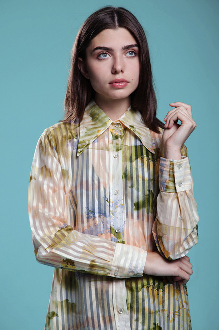 sheer blouse shirt top watercolor print pastel pointy collar long sleeve vintage 70s SMALL MEDIUM S M