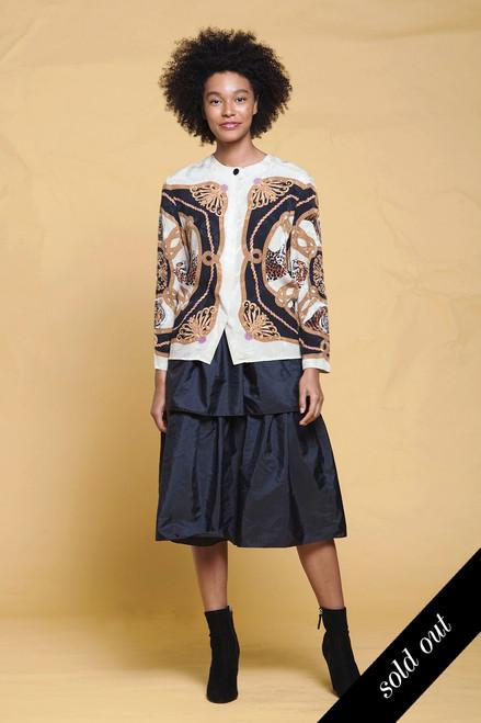 silk blouse top leopard tiger print ornate long sleeves vintage 90s SMALL MEDIUM S M