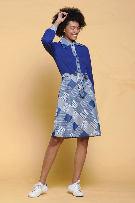 a309abcf11b ... unworn vintage 70s shirtwaist dress belted navy blue white plaid pointy  collar long sleeves MEDIUM M ...