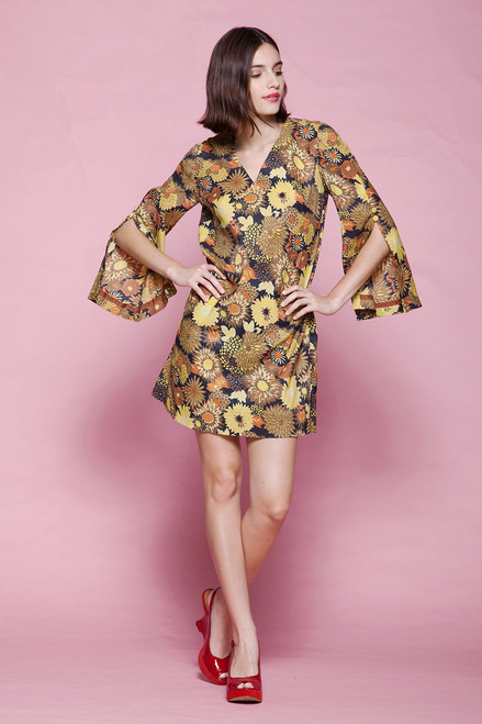 floral mini dress split angel sleeve yellow chrysanthemum flower v neck mod vintage 60s LARGE L