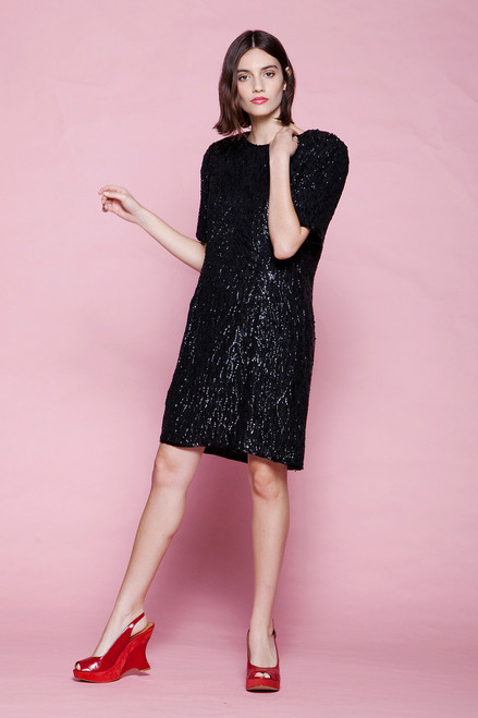 sequin mini dress black silk party cocktail short sleeves vintage 80s LARGE L