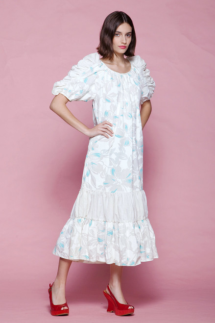 Hawaiian maxi dress ruffled sleeves white blue floral print cotton vintage 80s LARGE L
