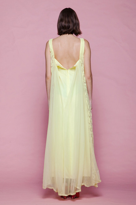 186a132c778d8 ... evening dress yellow lace cape gown bow sleeveless maxi vintage 60s  EXTRA SMALL XS XXS ...