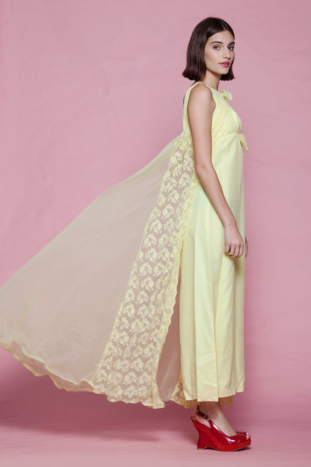 43535fbfeb0 ... evening dress yellow lace cape gown bow sleeveless maxi vintage 60s  EXTRA SMALL XS XXS ...