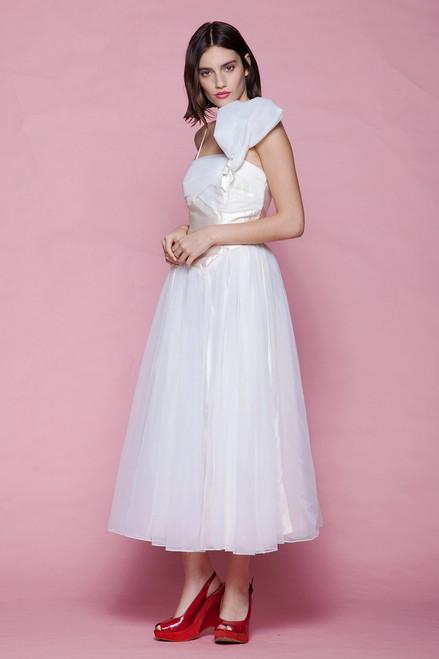 asymmetrical princess dress dance performance prom evening midi tea length sheer vintage 80s EXTRA SMALL XS