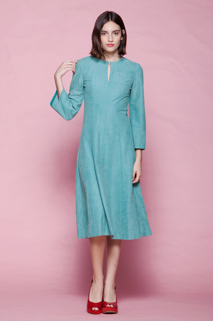 ultrasuede dress aqua blue green flare sleeves keyhole vintage 70s MEDIUM M