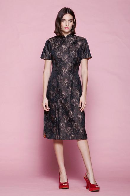 Cheongsam dress brown bronze brocade metallic short sleeves chrysanthemum floral vintage 50s MEDIUM