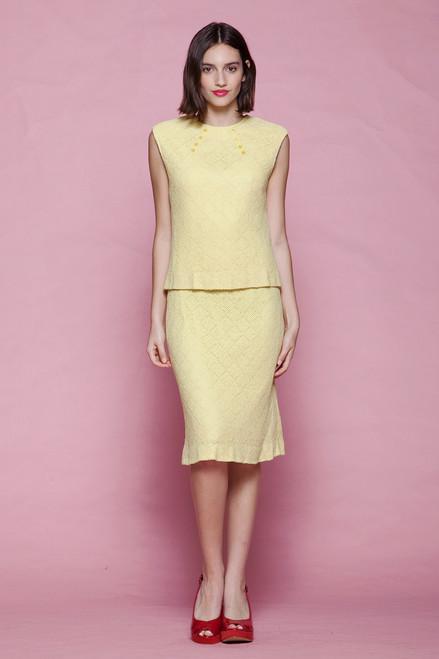 eyelet crochet knit dress 2-piece sleeveless pale yellow vintage 60s MEDIUM M