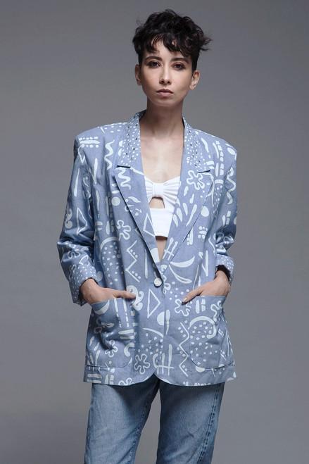 blazer jacket cotton chambray blue white print rhinestone collar vintage 80s SMALL MEDIUM S M