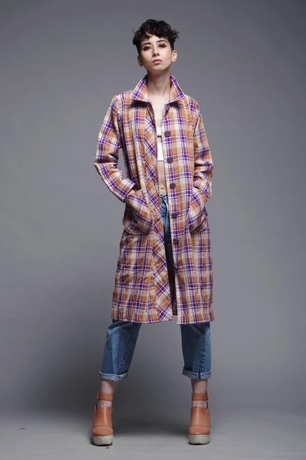 tweed plaid coat dress pleated duster brown purple patch pockets vintage 80s MEDIUM LARGE M L
