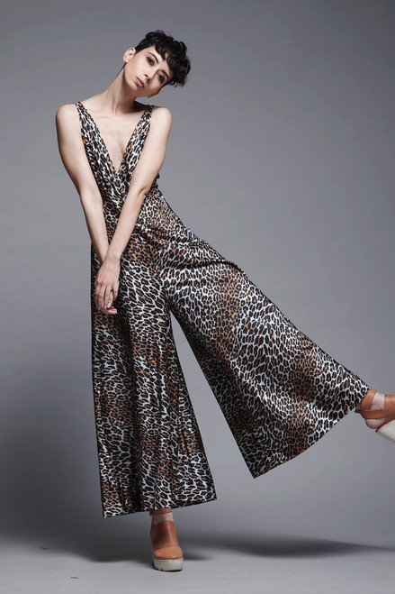 palazzo jumpsuit leopard crisscross open back lingerie lounge vintage 70s MEDIUM M