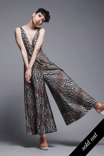 palazzo jumpsuit leopard crisscross open back lingerie lounge vintage 70s MEDIUM M