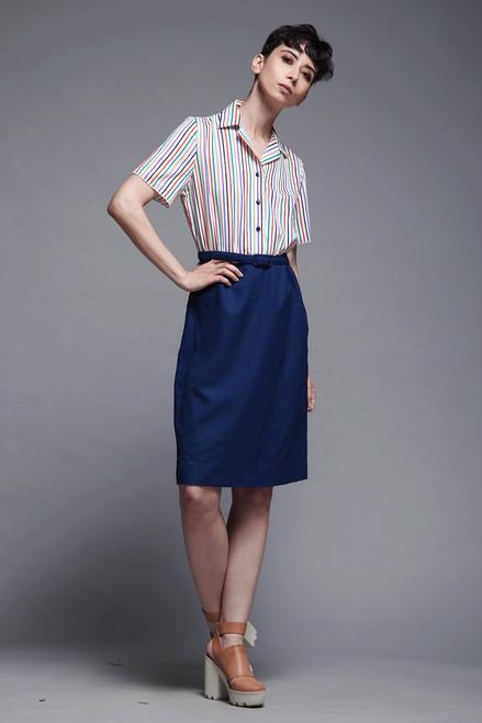 a7ef68641 ... belted shirtwaist dress secretary stripes short sleeves navy blue  vintage 70s MEDIUM M ...