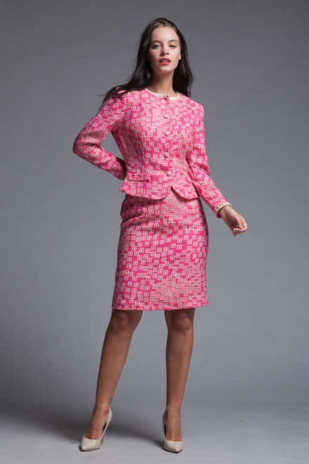 tweed skirt suit matching set light weight neon pink geometric square print vintage 60s SMALL S