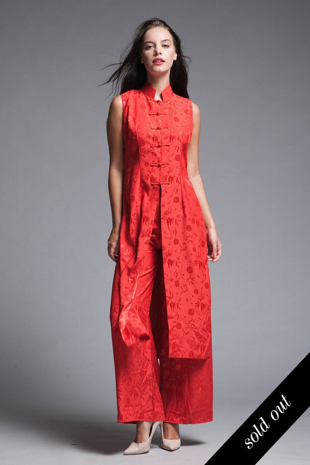 5e6da256ac4 Cheongsam Chinese pants set sleeveless tunic red flowy vintage Asian frog  buttons SMALL S