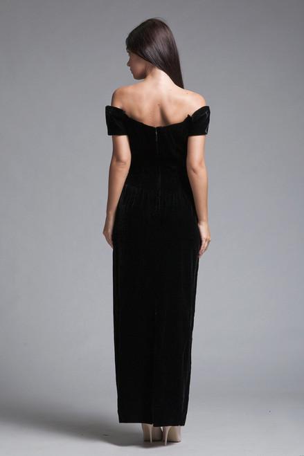 9c55fab95 ... evening gown black velvet dress glam off the shoulder full length vintage  80s SMALL S ...