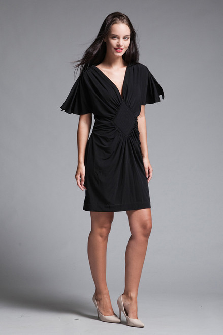 mini dress black knit gathered front split butterfly sleeves vintage 70s MEDIUM M