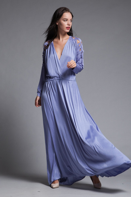 0a01f77d493 ... plus size maxi dress cutout soutache leaf eyelet slinky soft draped  purple knit vintage 70s XL ...