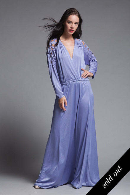 61614a9111 plus size maxi dress cutout soutache leaf eyelet slinky soft draped purple knit  vintage 70s XL 1X