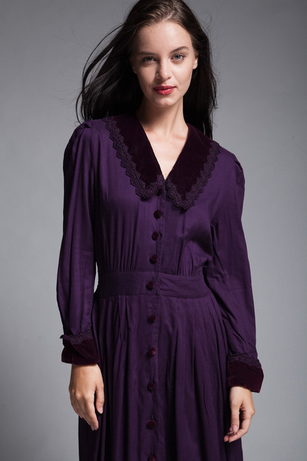 midi day dress velvet collar lace trim eggplant purple long sleeves vintage 90s SMALL MEDIUM S M