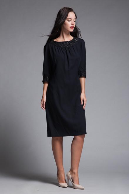 048007b50a shift dress black crepe half sleeves shiny lace trims vintage 60s MEDIUM M