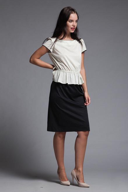 peplum secretary dress pinstripes black white short doll sleeves googly eye buttons vintage 70s SMALL MEDIUM S M