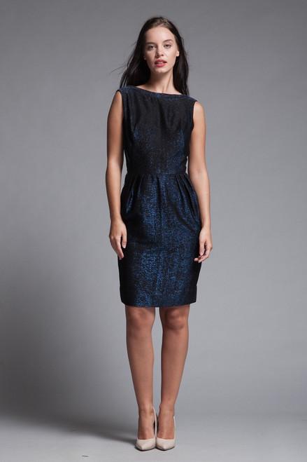 wiggle dress blue metallic lurex black low back sleeveless vintage 60s SMALL S