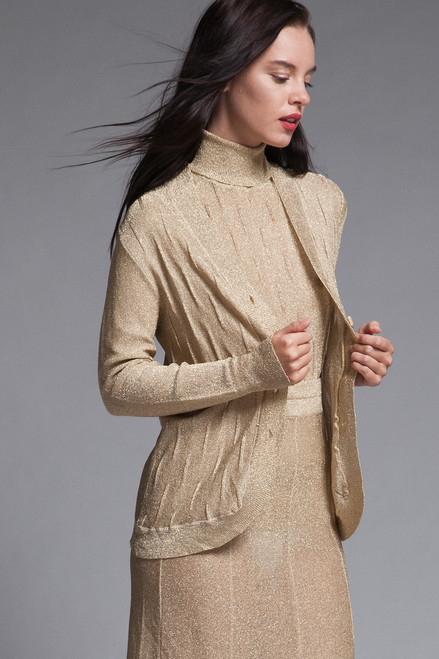 gold 3 piece skirt suit set lurex metallic knit turtleneck cardigan long sleeves vintage 70s SMALL S