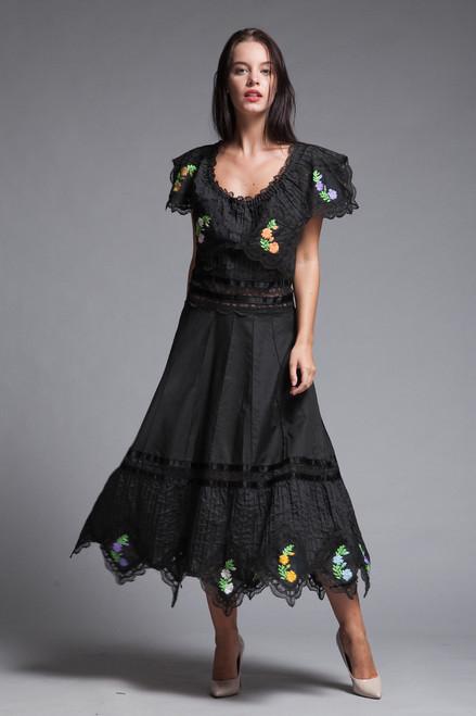6b01f20db7 Oaxacan Mexican fiesta dress black floral embroidered lace pintuck  handkerchief hem vintage 70s LARGE L